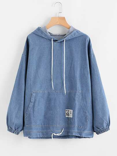 Drawstring Hood Kangaroo Pocket Denim Sweatshirt