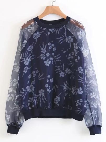 Flower Print Mesh Raglan Sleeve Sweatshirt
