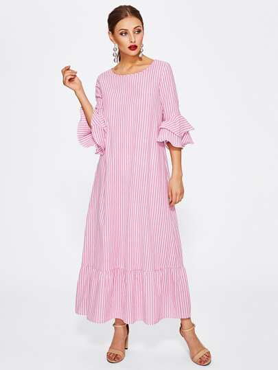 Layered Bell Sleeve Striped Ruffle Hem Dress