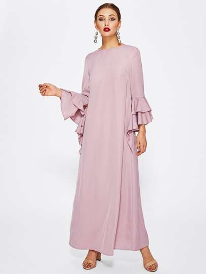 Bell Sleeve Tiered Hem Keyhole Back Dress