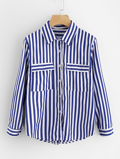 Contrast Striped Dual Pocket Shirt