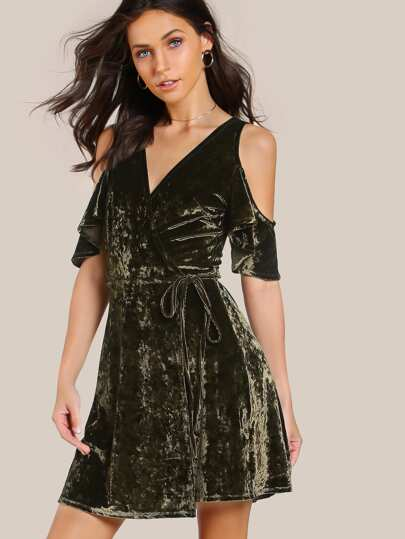 Open Shoulder Flutter Sleeve Surplice Front Velvet Dress
