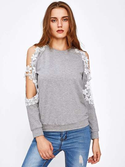 Lace Applique Open Shoulder Sweatshirt