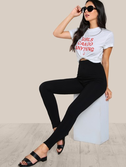 High Rise Piped Skinny Pants BLACK
