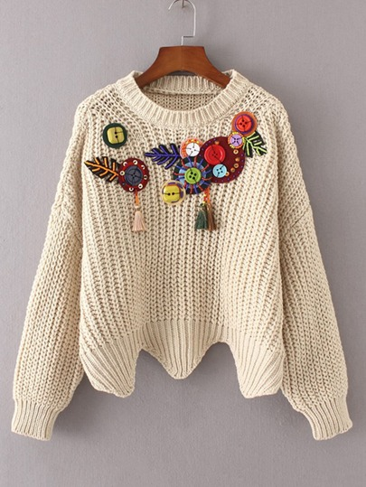 Button Embellished Wave Hem Sweater With Fringe