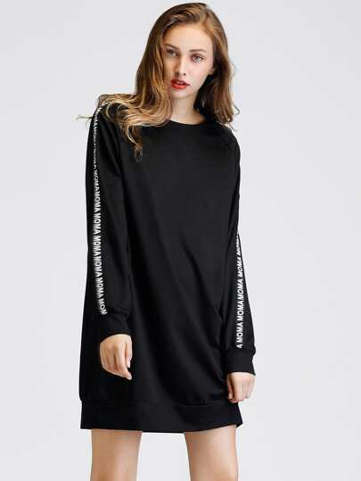 Letter Tape Detail Raglan Sleeve Sweatshirt Dress