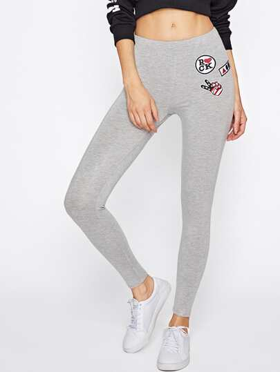 Embroidery Patch Heather Knit Leggings
