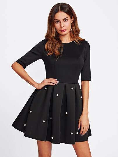 Pearl Beading Boxed Pleated Flare Dress