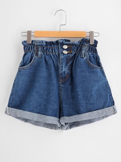 Shirred Waist Cuffed Denim Shorts