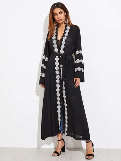 Lace Crochet Placket And Sleeves Self Tie Abaya