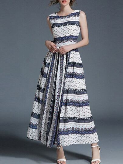 Color Block Print Maxi Dress
