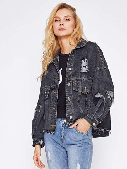 Ripped Frayed Drop Shoulder Denim Jacket