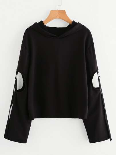 Cut Out Sleeve O-Ring Detail Hoodie