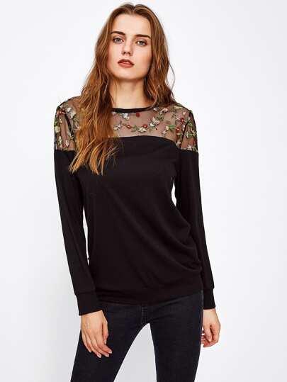 Botanical Embroidery Mesh Yoke Sweatshirt
