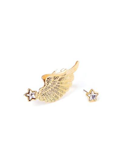 2 piezas de pendientes con diseño de estrella y ala