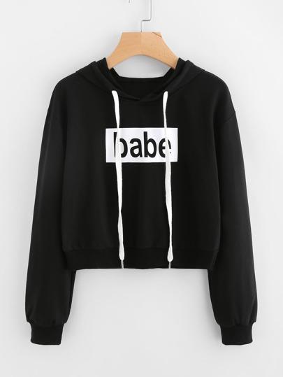Sudadera de capucha con letras y cordón ajustable
