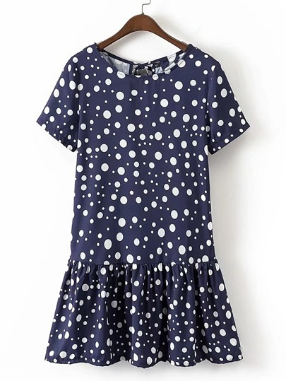 Polka Dot Tie Back Ruffle Hem Dress