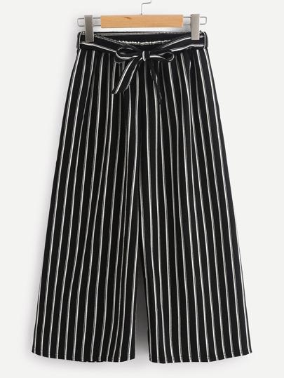 Pantalones de rayas verticales con cordón y pernera amplia