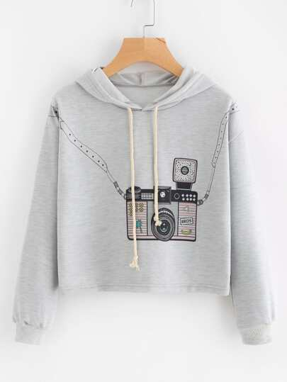 Hooded Drawstring Graphic Print Sweatshirt