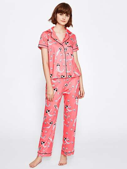 Tipping Detail Mermaid Print Shirt And Pants Pajama Set