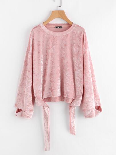 Sweat-shirt en velvet avec lacet