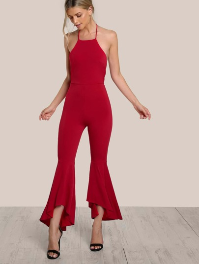 Halter Top Open Back Flare Leg Jumpsuit RED