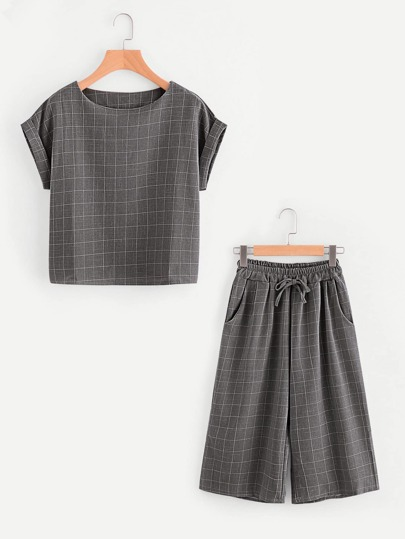Windowpane Print Top With Drawstring Waist Pants