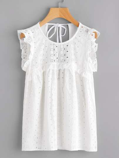 Tied Open Back Eyelet Embroidered Top