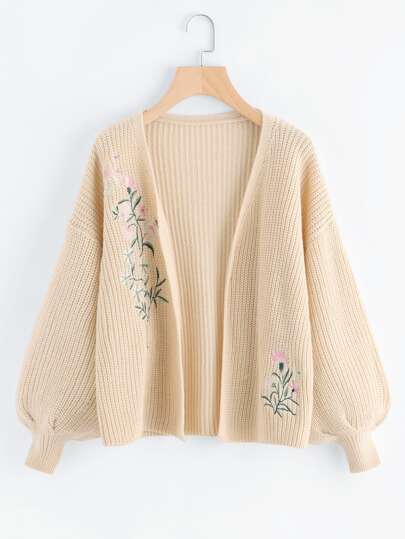 Bishop Sleeve Botanical Embroidered Cardigan