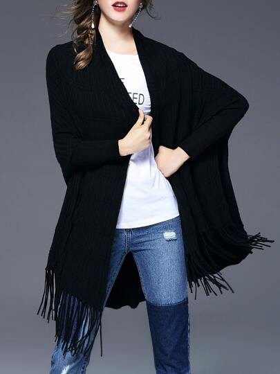 Long Sleeve Pleated Fringe Cardigan
