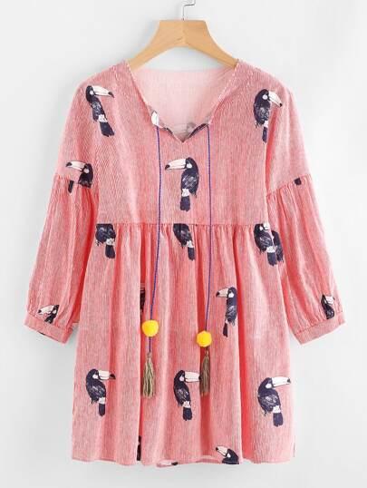 Pom Pom Tassel Tie Neck Hornbill Print Babydoll Dress