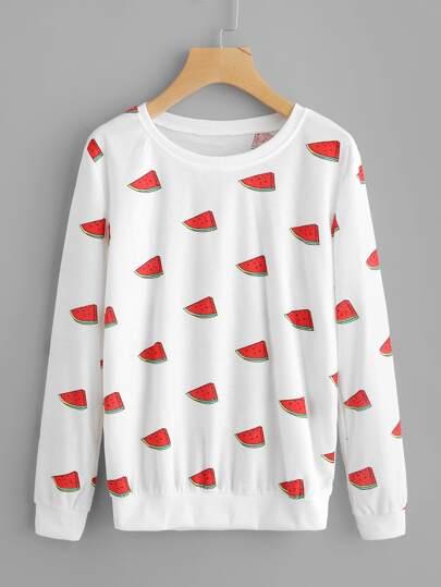 Sweat-shirt imprimé des melons de l\'eau