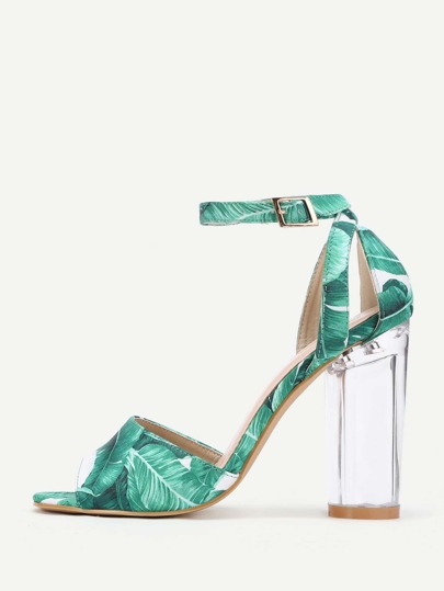 Leaf Print Clear Heeled Sandals