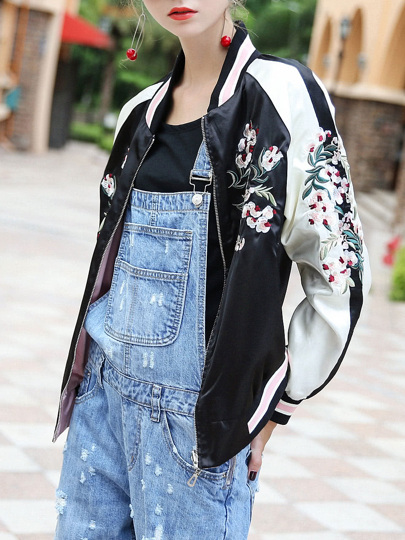 Flowers Embroidered Color Block Jacket