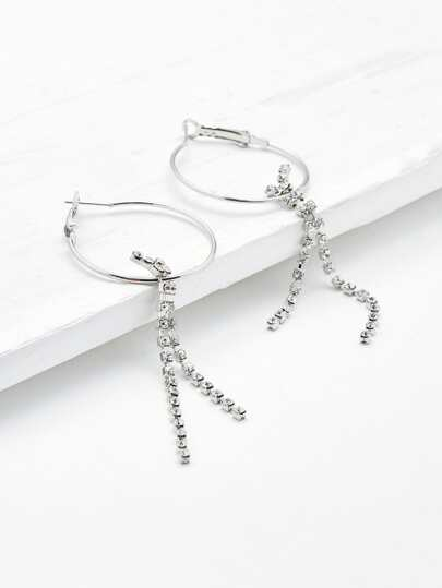 Hoop Drop Earrings With Chain Decorated