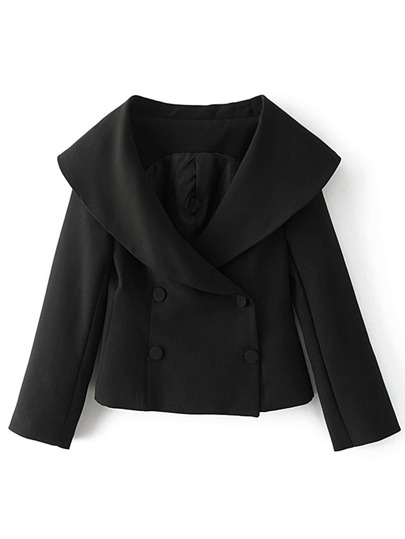 Portrait Collar Slit Cuff Double Breasted Coat