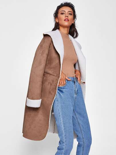 Press Stud Placket Faux Shearling Coat