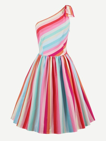 Rainbow Stripe Oblique Shoulder Circle Dress