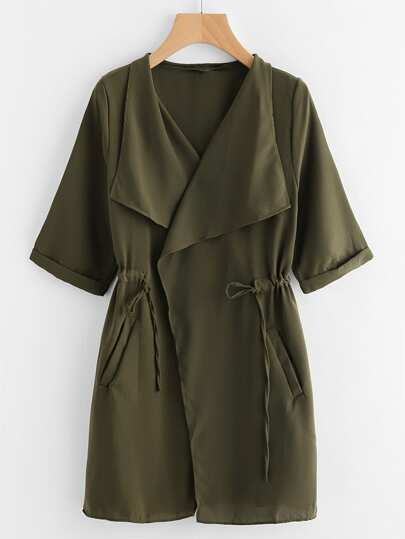 Drawstring Waist Cuffed Trench Coat