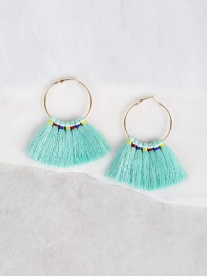 Drop Tassel Hoop Earrings MINT