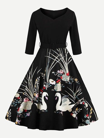 Graphic Print Circle Dress With Belt