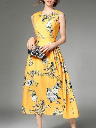Crew Neck Flowers Print Dress