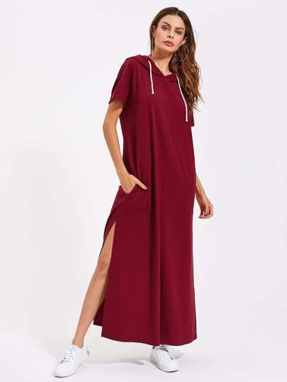 Drop Shoulder Slit Side Hooded Dress