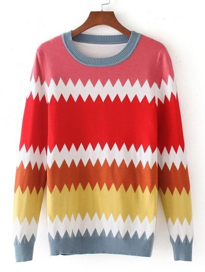 Color Block Zigzag Pattern Knitwear