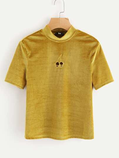 Camiseta de terciopelo con bordado