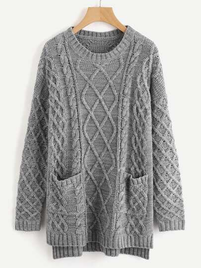 Pocket Front Mixed Knit Stepped Hem Sweater