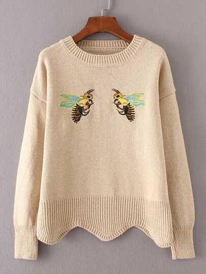 Maglione con ricamo di ape