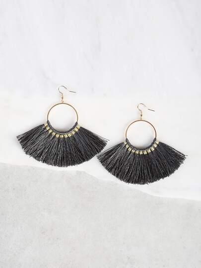 Circle Tassel Earrings GRY