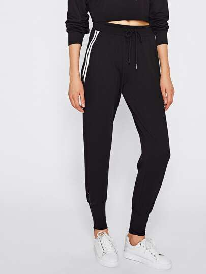 Zip Embellished Striped Side Sweatpants