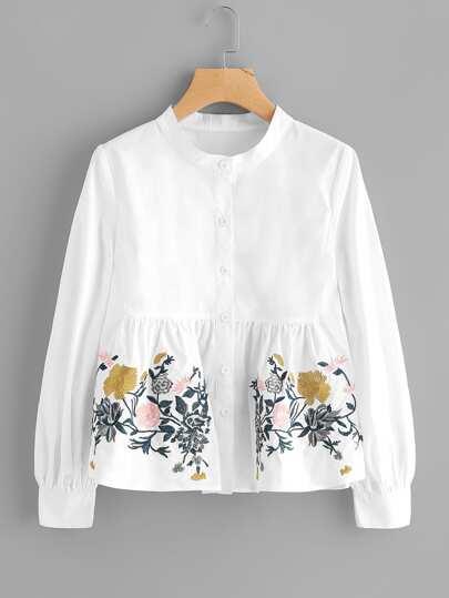 Gesmockte Bluse mit Blumen Stickereien